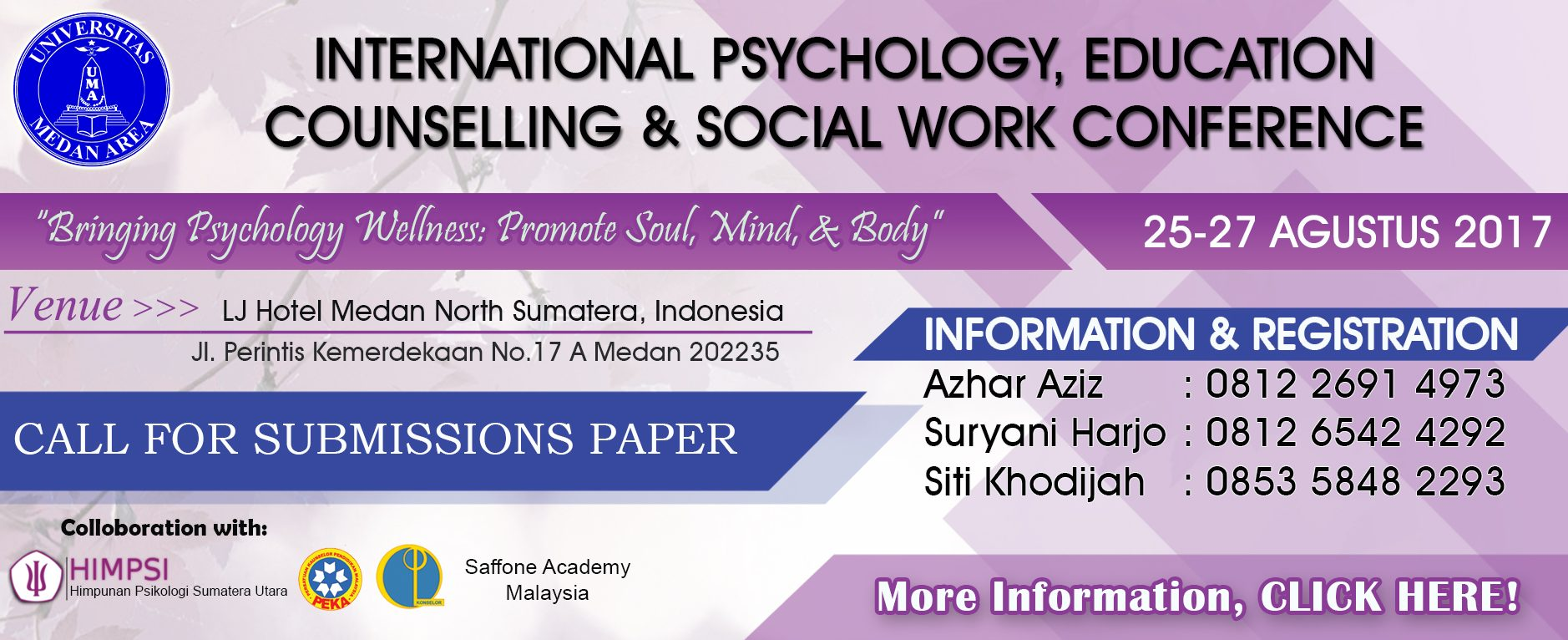 Internasional Psychology, Education Counselling & Social Work Conference 2017